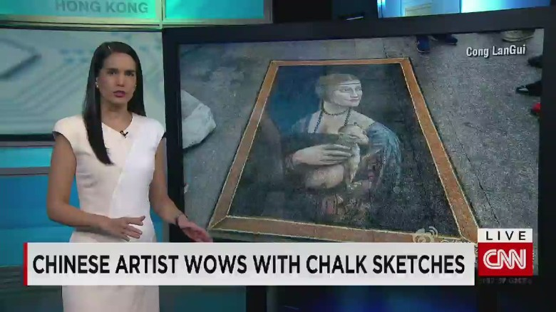 Check out the Mona Lisa... in chalk!