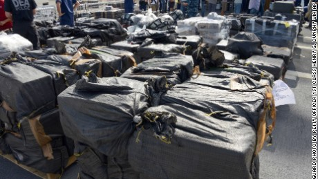 More than 28,000 pounds of cocaine sit at the naval base in San Diego April 16.