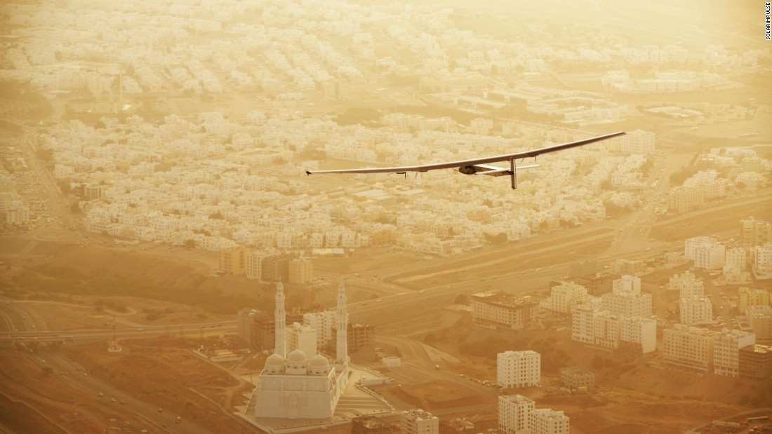 The Solar Impulse 2 flies over Muscat, Oman, after taking off on Tuesday, March 10.