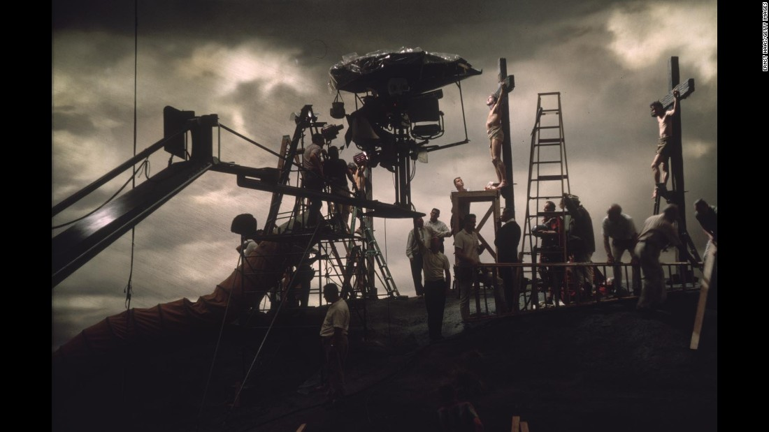 "Crew members set up the crucifixion scene for ""The Greatest Story Ever Told"" in June 1963."