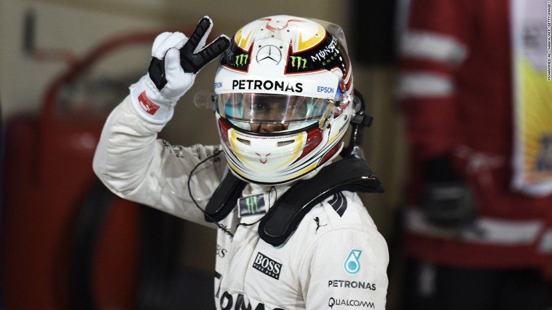 "A week later, Hamilton made it a hat-trick of triumphs from the opening four races when he crossed the line first at the Bahrain Grand Prix. He managed to hold top spot despite losing his brakes on the last lap, beating Ferrari's Kimi Raikkonen, who finished second. ""I'm gunning for a third title,"" Hamilton said. ""I was able to pull through and we need to keep pushing now, as I know we will."""