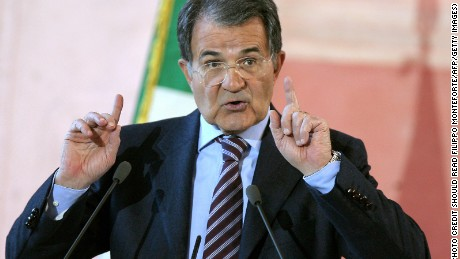 Italian Prime Minister Romano Prodi gestures during his year-end press conference in Rome's Villa Madama, 27 December 2007.