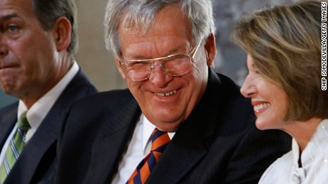 WASHINGTON - JULY 28:  Former House Speaker Dennis Hastert (C) is joined by current Speaker Nancy Pelosi (D-CA) and Minority Leader John Boehner (R-OH) during a ceremony unveiling Hastert's portrati at the U.S. Capitol July 28, 2009 in Washington, DC. Hastert is the longest serving Republican speaker to date, holding the post  from 1999-2007.  (Photo by Chip Somodevilla/Getty Images) *** Local Caption *** Nancy Pelosi;John Boehner;Dennis Hastert