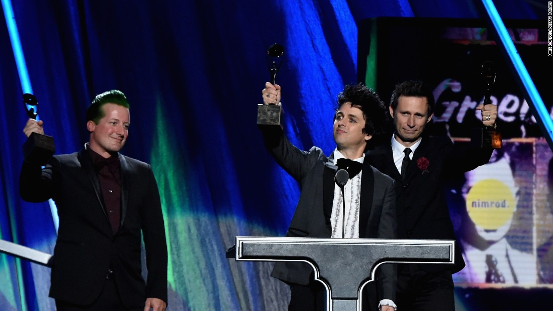 Rockers Tre Cool, Billie Joe Armstrong and Mike Dirnt of Green Day also were inducted into the Rock And Roll Hall Of Fame on Saturday.