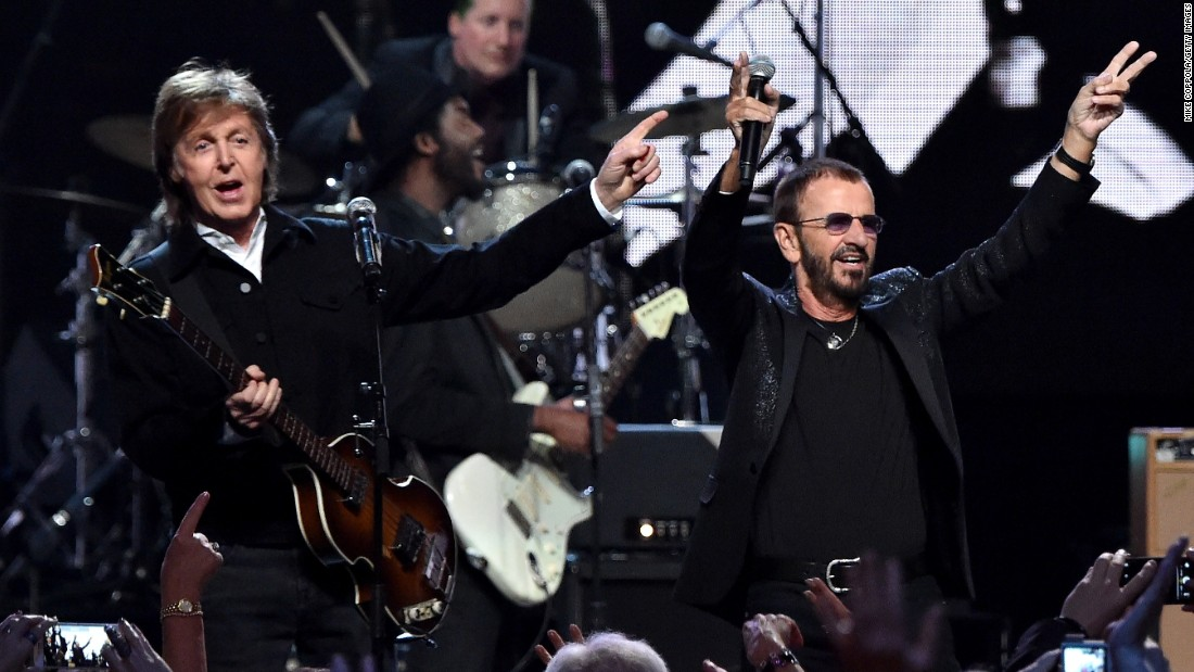 Paul McCartney, left, and inductee Ringo Starr performed together at the 30th Annual Rock And Roll Hall Of Fame induction ceremony.