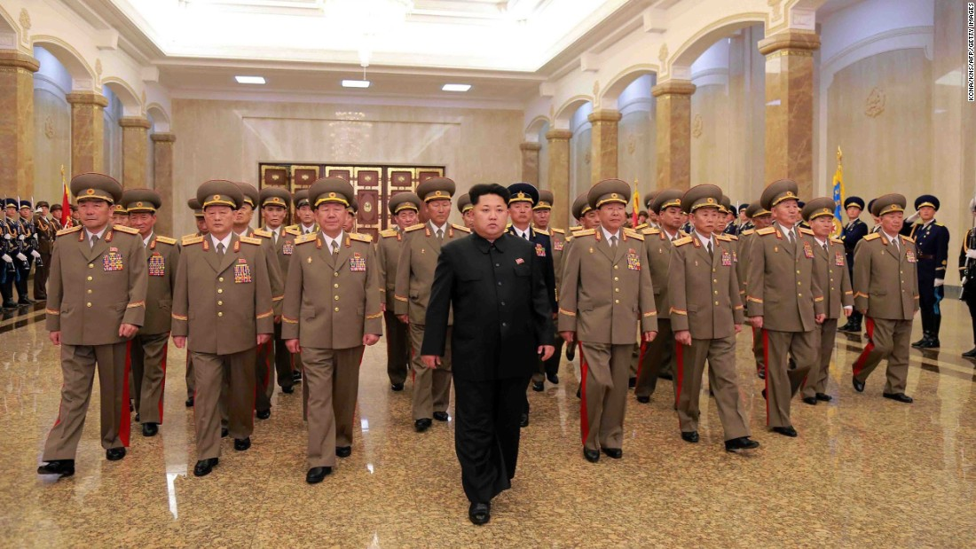 Kim visits the Kumsusan Palace of the Sun in Pyongyang, North Korea, on April 15 to celebrate the 103rd birth anniversary of his grandfather, North Korean founder Kim Il Sung.