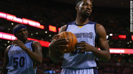 Jeff Green  of the Memphis Grizzlies looks on during the third quarter against the Boston Celtics March 11, 2015