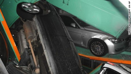 Cars pile up on top of each other in an automated parking tower after an earthquake struck off the eastern coast of Taipei, Taiwan on April 20.