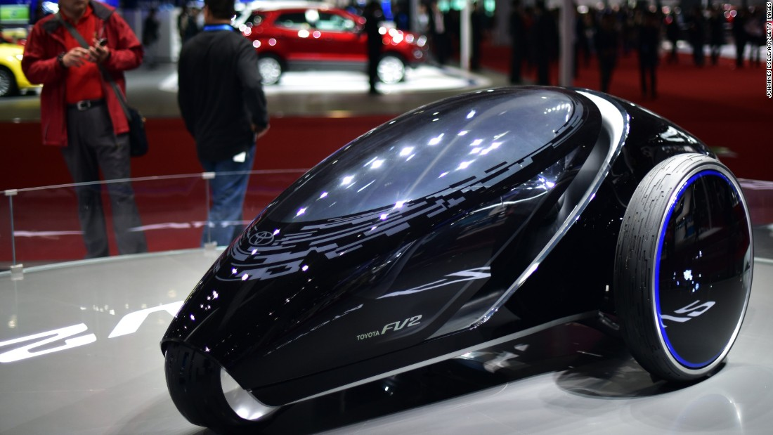 "Try this on for size. Toyota shows off its FV2 concept car in Shanghai. FV2 is short for ""Fun Vehicle 2"" and high-tech features include an ability to control the car using voice and facial cues."
