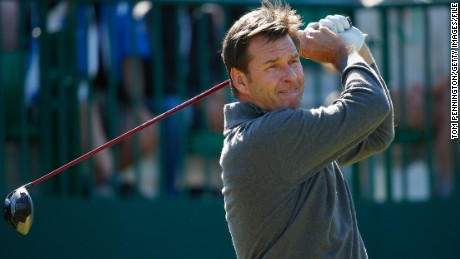 Nick Faldo tees off during a practice round prior to the start of the 143rd Open Championship at Royal Liverpool.