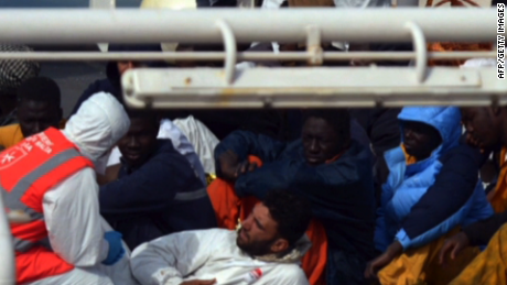 Migrants rescued in Malta on April 20, 2015