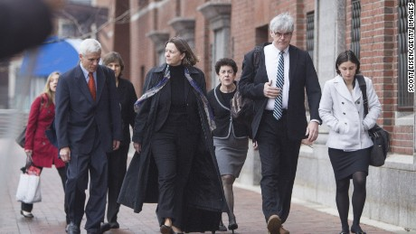 BOSTON, MA - APRIL 21: Members of the legal defense team for Boston Marathon bombing suspect Dzhokhar Tsarnaev, including David Bruck, (from left), Judy Clarke, Miriam Conrad, and Timothy G. Watkins arrive at John Joseph Moakley United States Courthouse during the first day of the sentencing phase of the Boston Marathon Bomber Trial on April 21, 2015 in Boston, Massachusetts. Dzhokar Tsarnaev, 21, was found guilty on all 30 counts related to to his involvement in the 2013 bombing, which related in three deaths and over 250 injuries.
