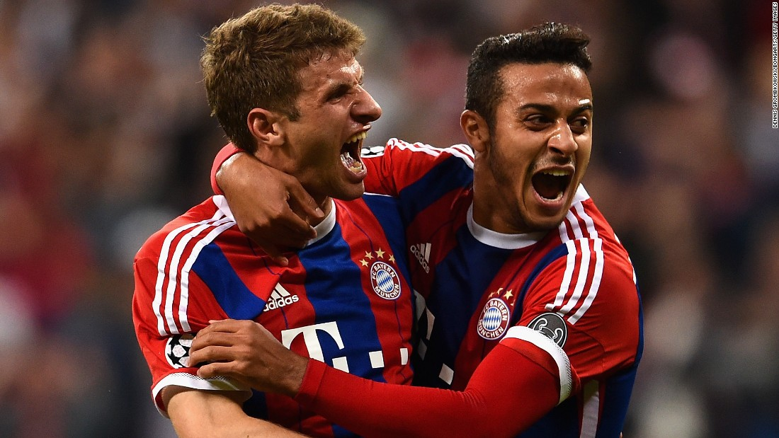 German champions Bayern Munich looked in trouble after losing the first leg of its European Champions League quarterfinal with Porto 3-1 but on home soil it blew its opponents away by scoring five goals in the opening 40 minutes and running out 6-1 winners.