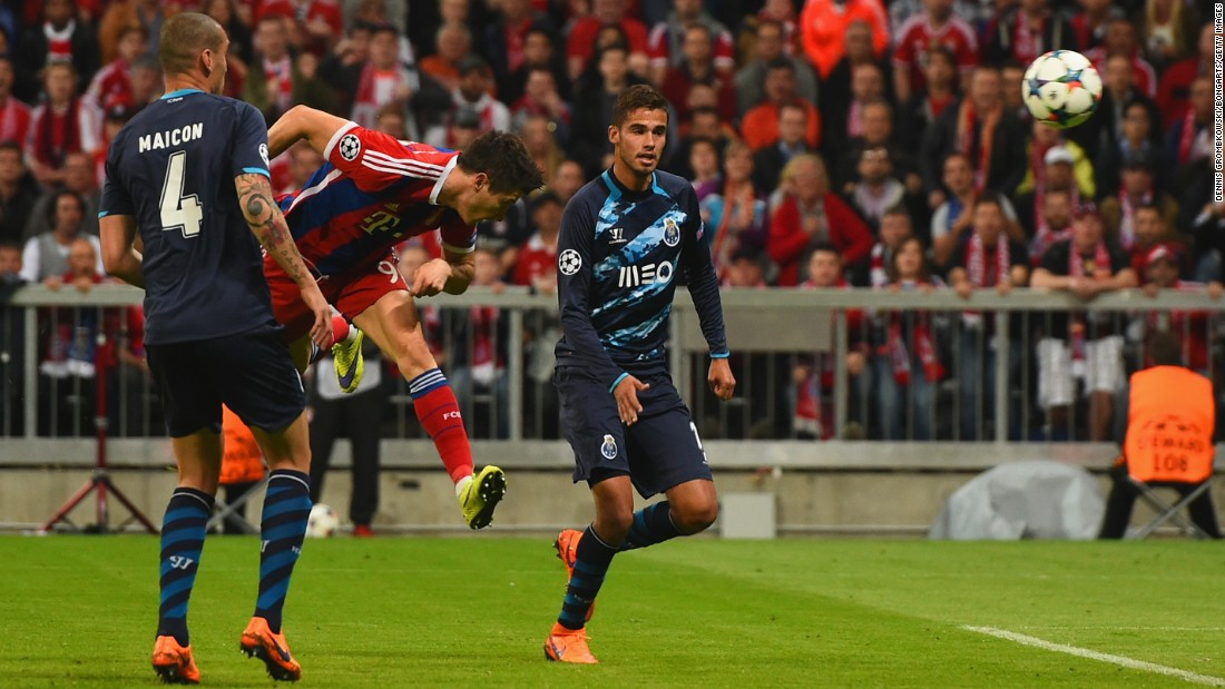 Bayern's third goal was a beauty, as Robert Lewandowski headed home after a cross from Philipp Lahm was touched on deftly by Thomas Muller.