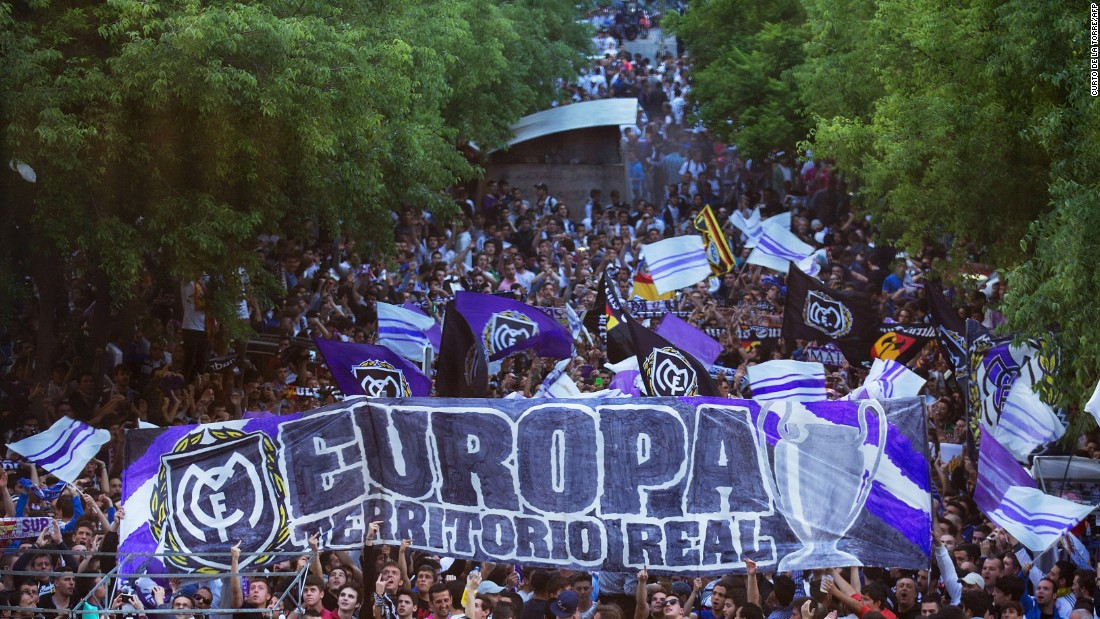The Real Madrid fans gathered before kickoff ahead of the Champions League quarterfinal second leg tie with Atletico Madrid. The two teams drew 0-0 in the first game.