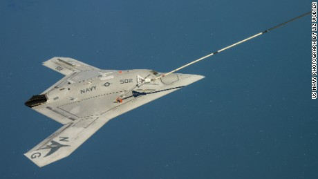 The X-47B receives fuel in flight April 22nd.