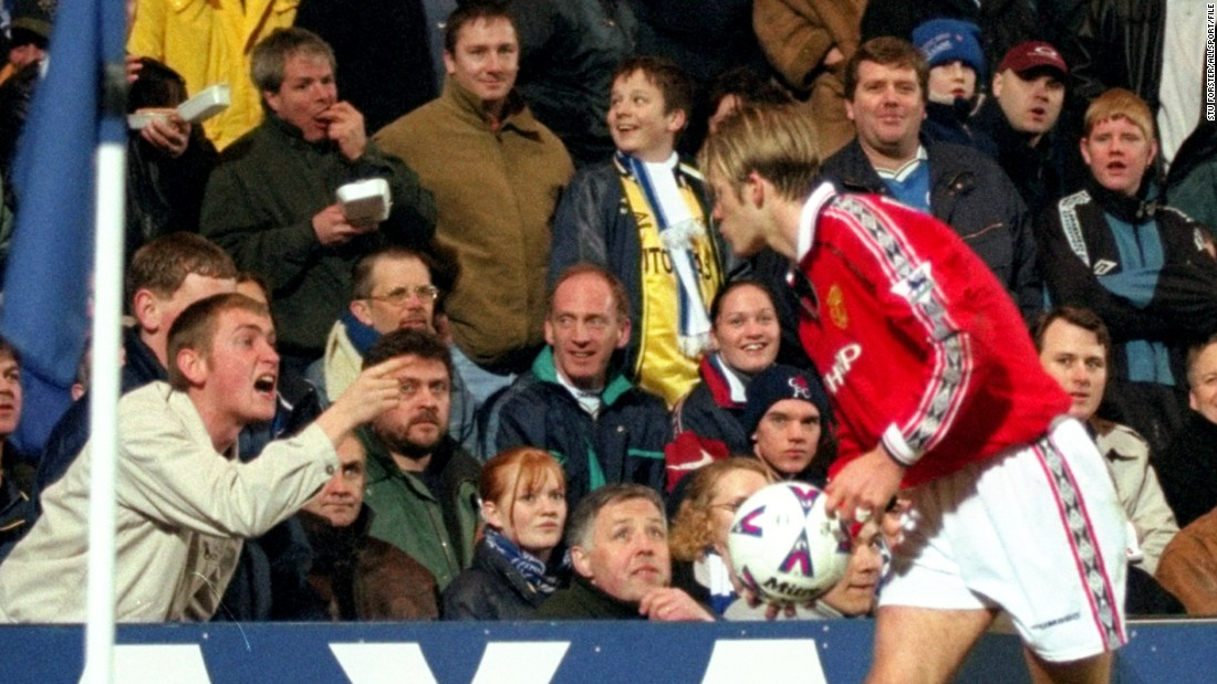 As well as facing vitriol over the World Cup debacle, the seemingly effeminate Beckham was an easy target for fans at rival Premier League clubs. Here he blows a kiss to Chelsea supporters during United's run to winning the FA Cup in '99.