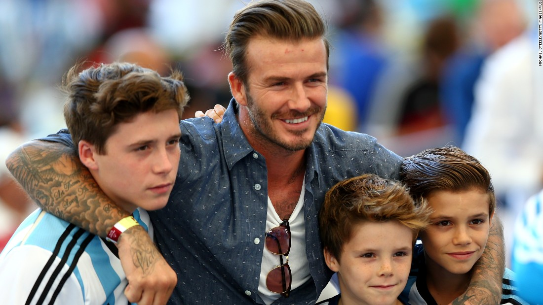 Beckham also took his boys to the 2014 World Cup in Brazil, where they attended the final between Germany and Argentina at the Maracana Stadium.