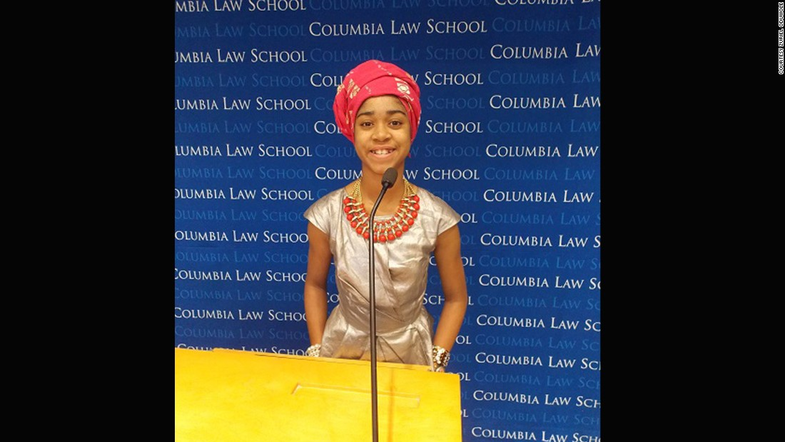 "But that's not the extent of her ambitions as the 9th grader, who recently spoke at the prestigious annual African Economics Forum held at Columbia University (pictured), also has designs on the highest oval-shaped office in the land. ""When I get much much older I'd like to become the President of the United States so I can have a positive effect on the U.S. and also all the other countries in the world, especially the countries on the African continent.""<br />"
