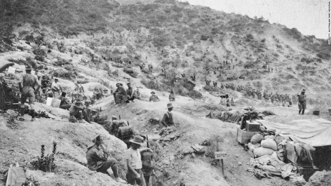 Every year on April 25, millions of people pause to remember the lives lost on that day, and in the months and years that followed, during World War One. The day is known as Anzac Day, named after the Australian and New Zealand Army Corps, which suffered heavy losses during the protracted campaign. Troops are seen here at White's Valley.
