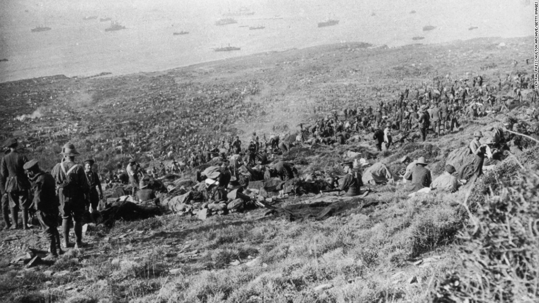 In August, more British troops landed at Suvla Bay in an attempt to help the Allies break out of Anzac Cove. Here, British troops of the IX Corps are seen scattered over a coastal hillside after landing at Suvla before the August offensive in 1915. A large number of British ships can be seen out at sea.