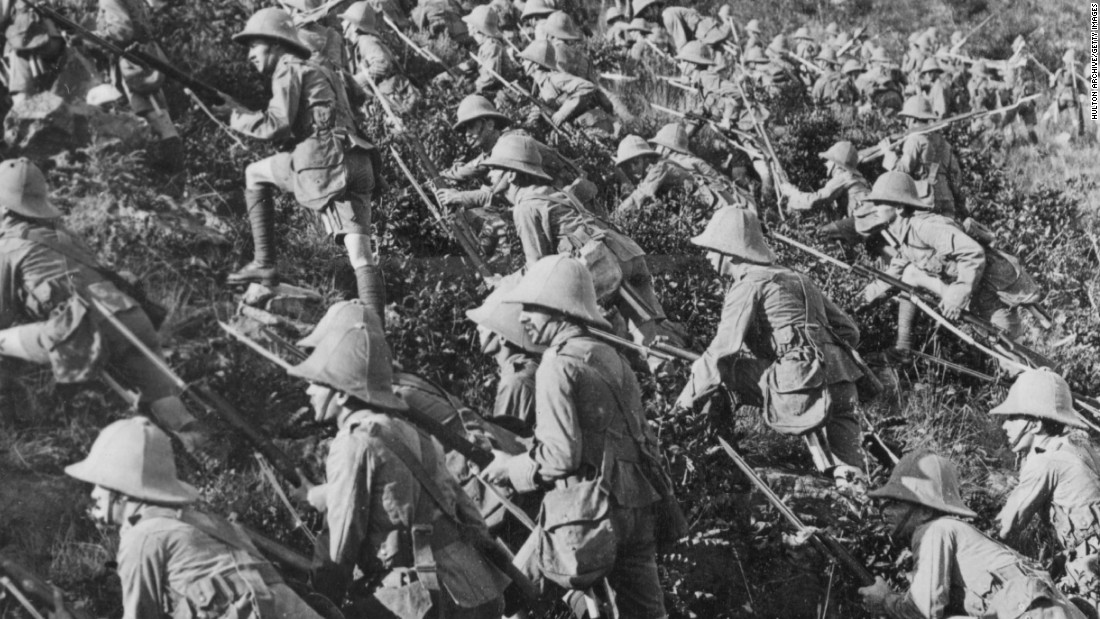 Despite the bombardment, and appalling loss of life, both the Allied and Turkish forces dug in for a protracted campaign which ended with the decision by the British government to evacuate Allied troops. This image shows British troops advancing at Gallipoli, August 6, 1915.