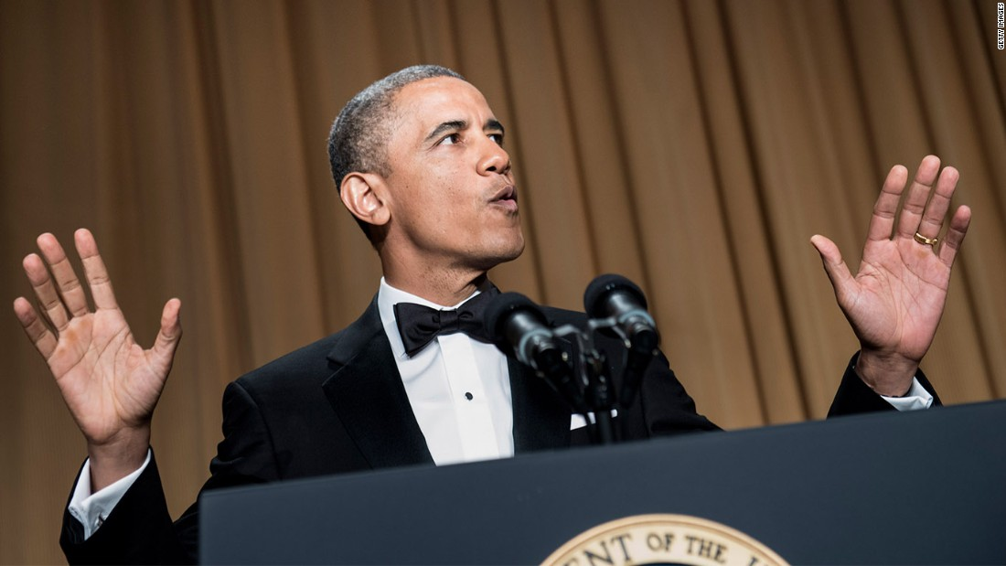"Fresh off winning a second term in the White House, Obama started the 2013 dinner with a bang by walking onto the stage to DJ Khaled's song ""All I Do Is Win."" ""How do you like my new entrance music?"" Obama asked. He then proceeded to hint that during his second term he might now be dancing to a different tune: ""Actually, my advisers were a little worried about the new rap entrance music. They are a little more traditional. They suggested that I should start with some jokes at my own expense, just take myself down a peg. I was like, guys, after four and a half years, how many pegs are there left?"""