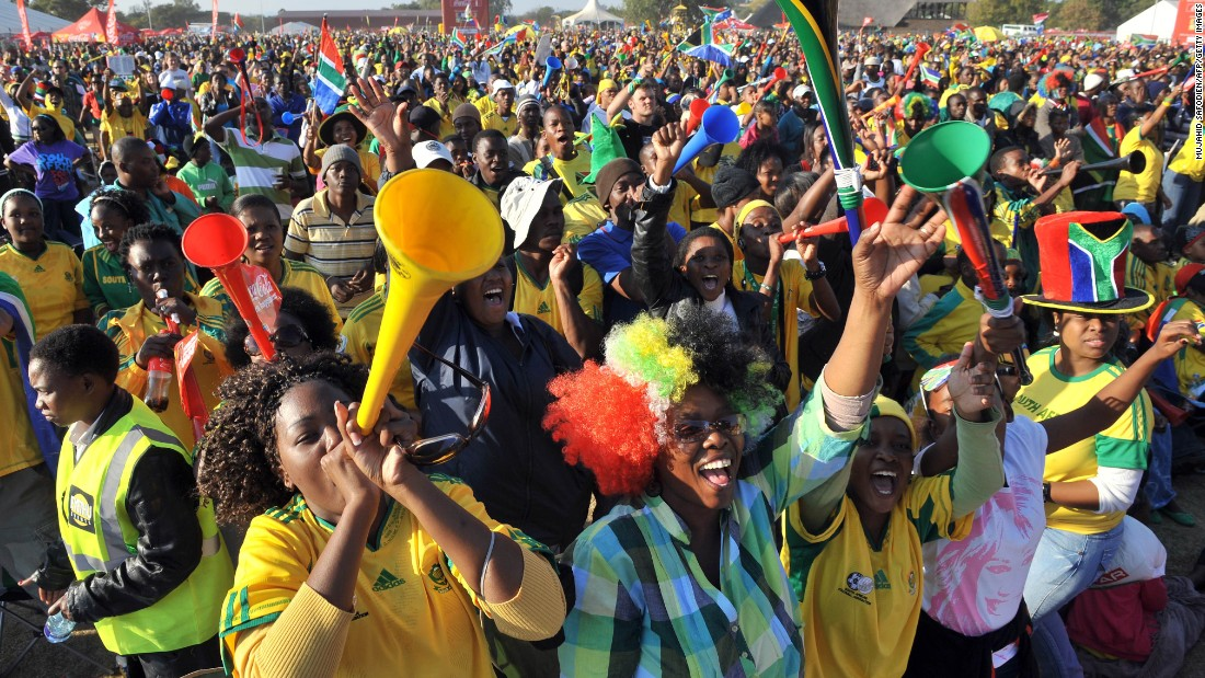 Over three million people attend 64 football matches in the first World Cup to be held in Africa. The home nation's team, also known as Bafana Bafana fail to progress from the group stage -- but the mood remains euphoric throughout the tournament.