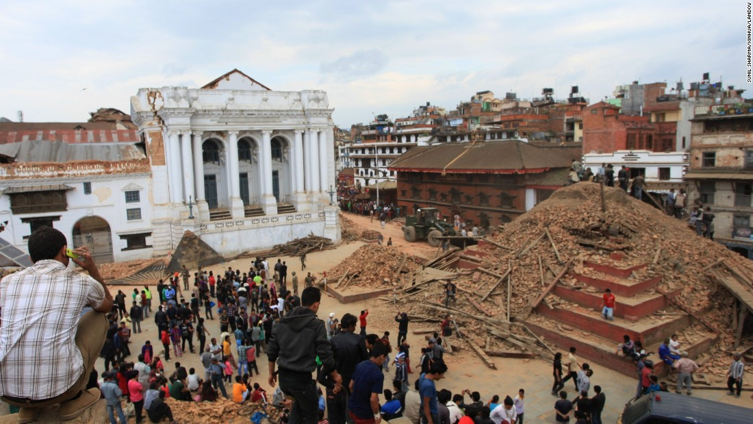 A temple on Hanumandhoka Durbar Square lies in ruins after an earthquake in Kathmandu on April 25.