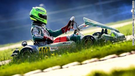 Mick Schumacher competes during the German Kart Championship International ADAC, in Genk, on October 4, 2014.