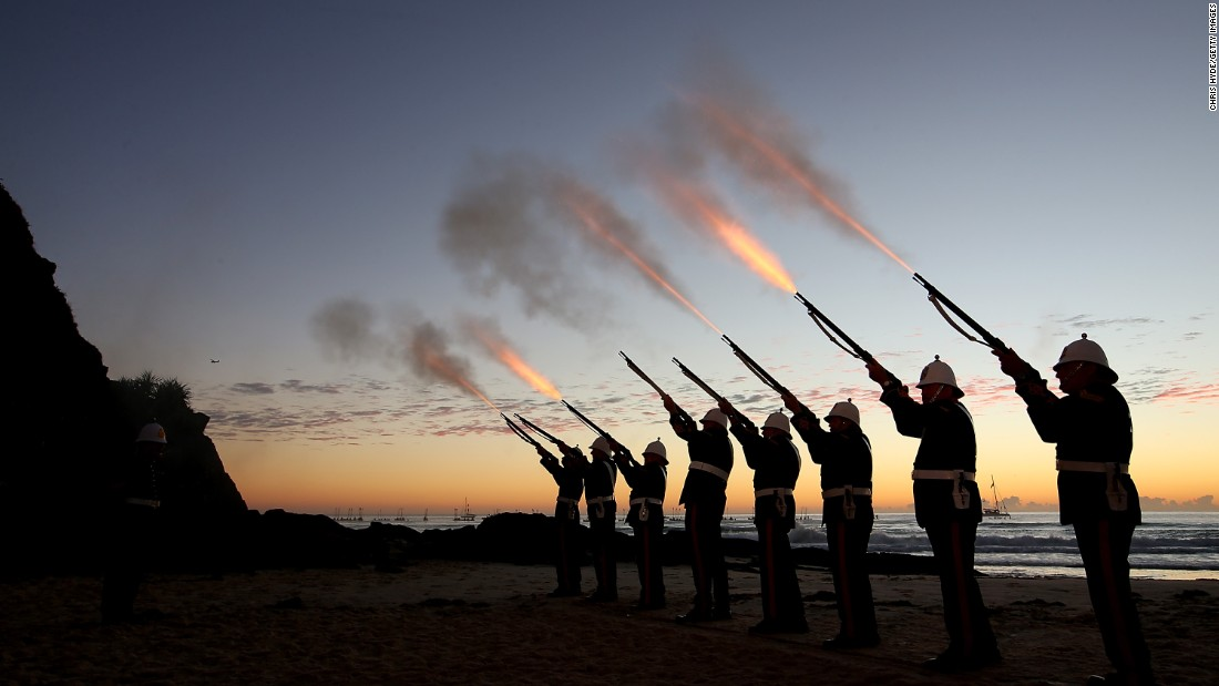 Members of the Albert Battery shoot a volley during the Currumbin RSL dawn service  in Currumbin, Australia.