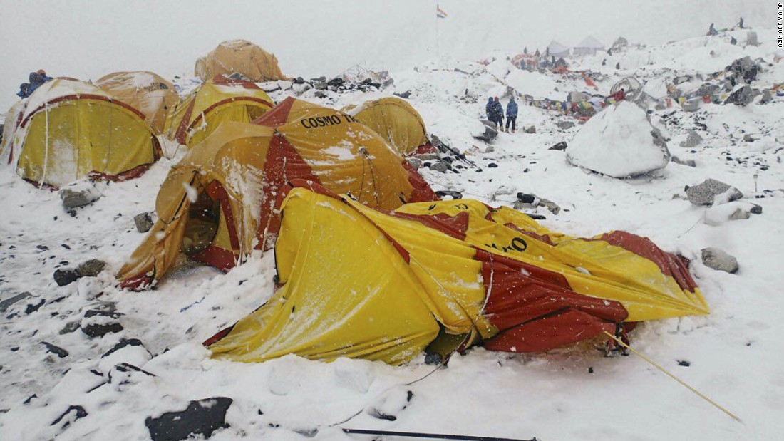 Everest base camp is seen on April 25 after the avalanche.