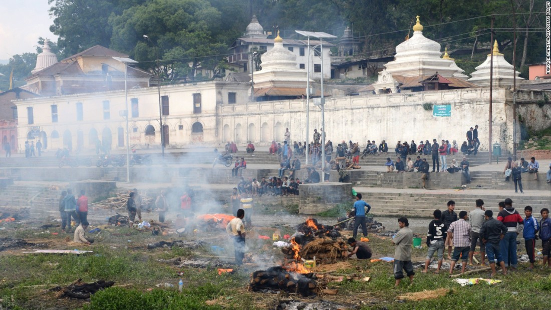 On Sunday, April 26, Pashupatinath temple became a backdrop for a mass cremation for some of the thousands killed in the 7.8-magnitude earthquake.
