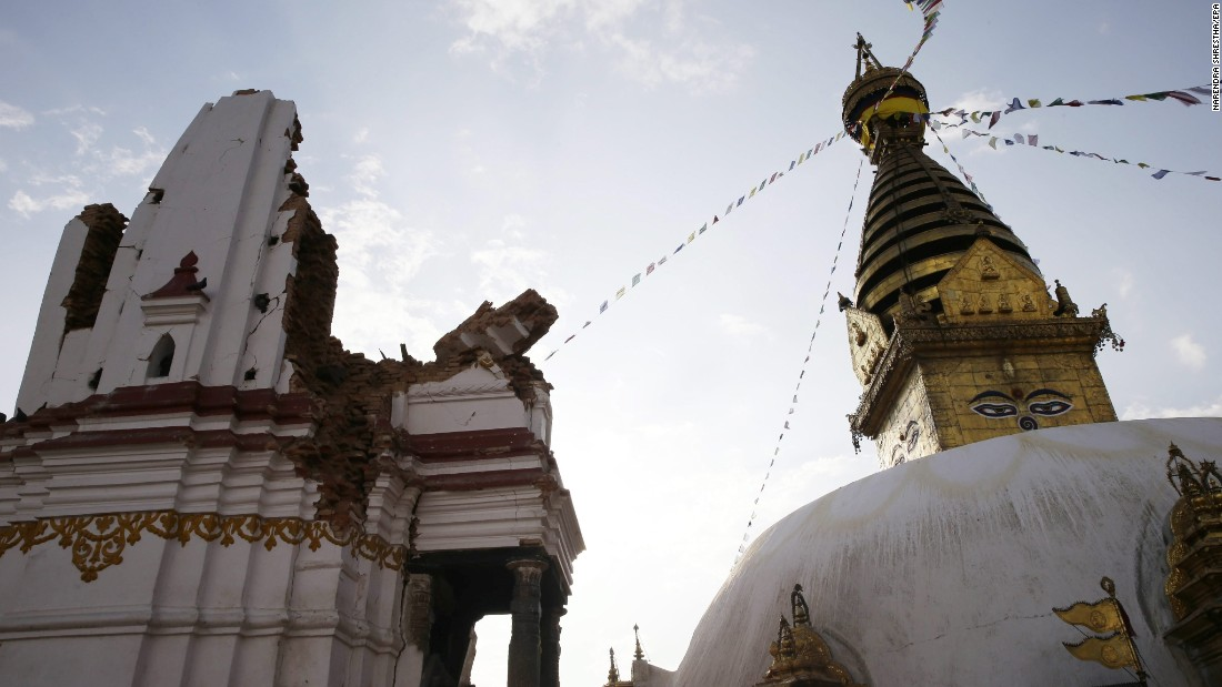 Damage to the Swayambhunath Stupa complex is evident April 26, a day after the earthquake, in Kathmandu, Nepal.