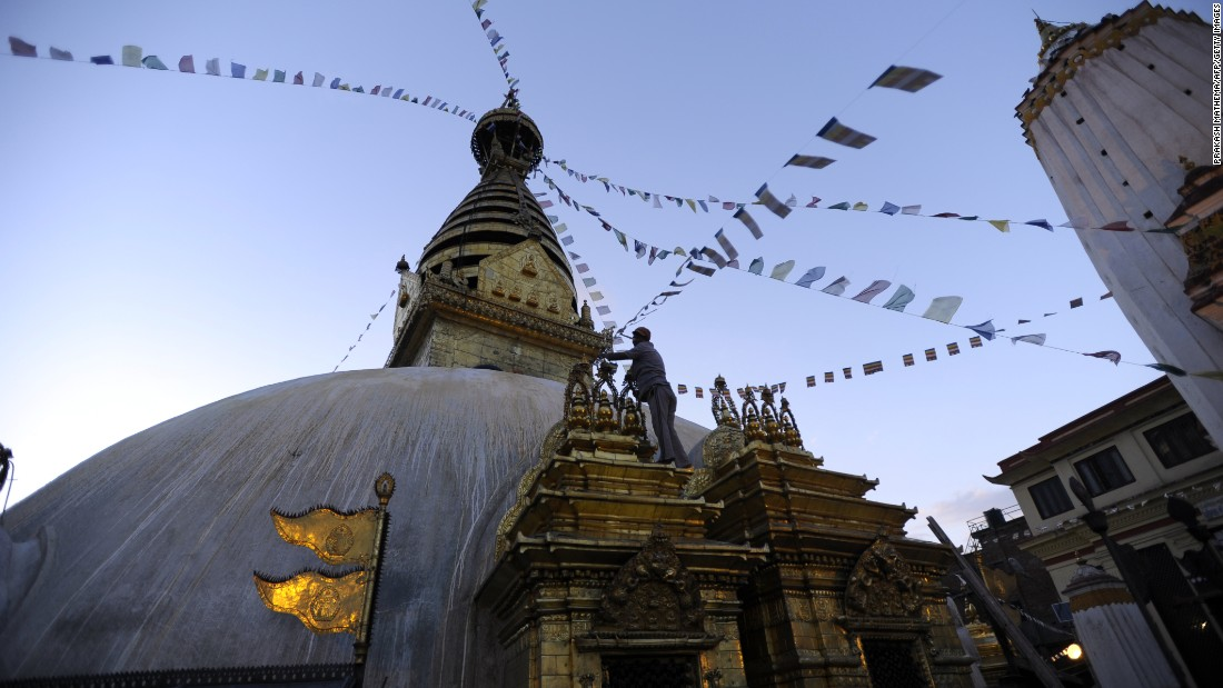 The Swayambhunath Stupa, also known as the Monkey Temple, is seen in May 2013 in Kathmandu, Nepal.