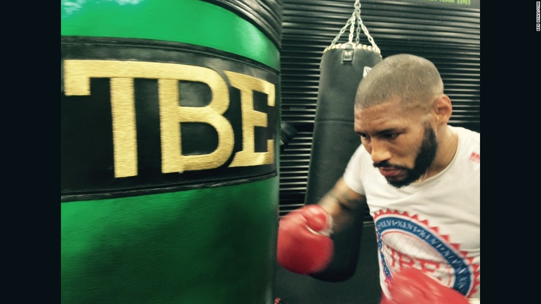 "After sparring, Theophane moves to the heavy bag. ""I'll normally do 20 minutes on the heavy bag without a break,"" Theophane tells CNN. The moniker ""TBE"" on the bag reflects Mayweather's self-dubbed nickname of ""The Best Ever."""