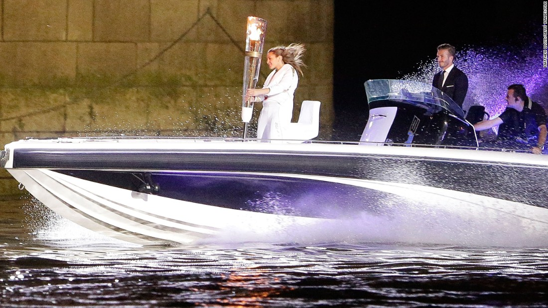 Beckham played a high-profile role in London's opening ceremony, driving a speedboat carrying the Olympic torch under Tower Bridge and down to the Stratford host venue near where he grew up.