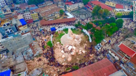 A drone captured aerial shots of the damages in Kathmandu, Nepal on April 27 following a 7.8 magnitude earthquake that struck on April 25.