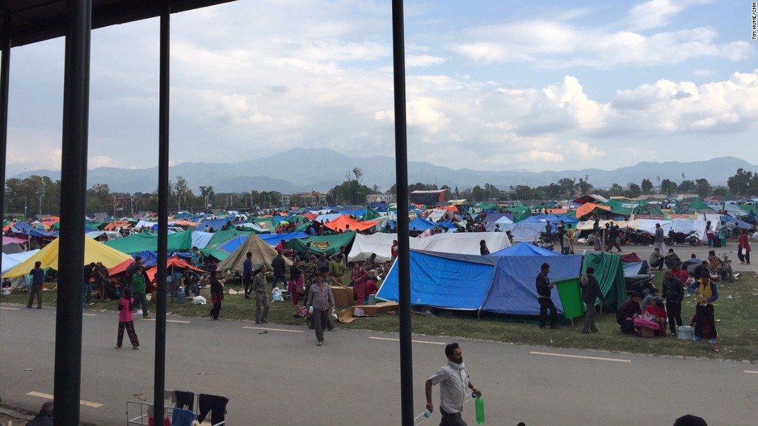 Many of the wounded take shelter in tents at the Nepal Army Pavilion, across the road from Kathmandu's Bir Hospital.