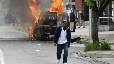Baltimore protests turn into riots