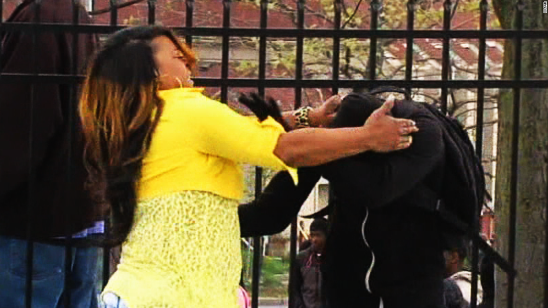 Baltimore mom smacks protesting son