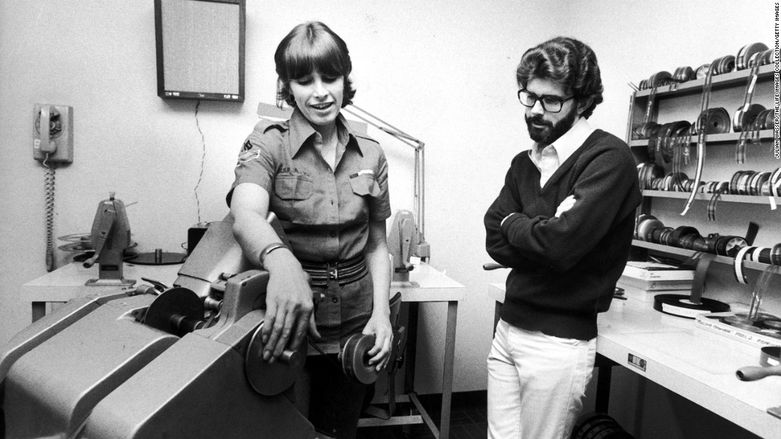 "Film editor Marcia Lucas with her then-husband, director George Lucas, editing ""Star Wars."" The film gave George Lucas the power to call shots in Hollywood -- influence he used to do everything from market video games to produce films for one of his heroes, Japanese director Akira Kurosawa."