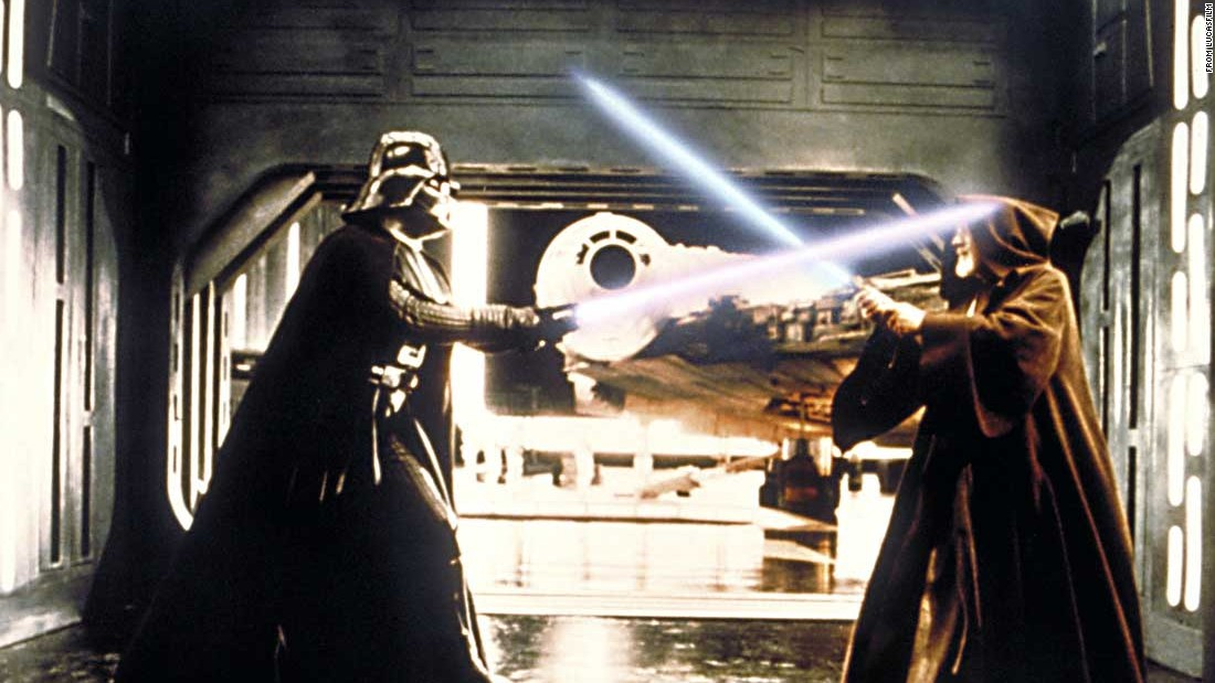 "Darth Vader, the villain of ""Star Wars,"" and Obi-Wan Kenobi battle in the original film. Vader's life is explored in the second ""Star Wars"" trilogy, starting with 1999's ""The Phantom Menace."""
