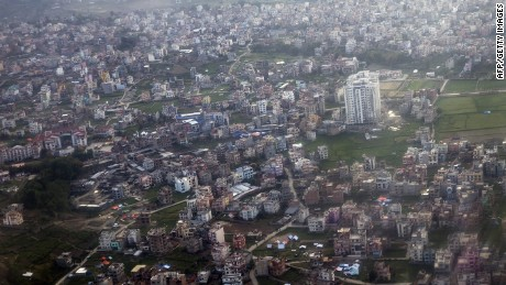 This aerial picture taken on April 27, 2015 shows earthquake-hit buildings in Kathmandu. The death toll from the devastating earthquake has risen to 4,310, the home ministry said. CHINA OUT AFP PHOTOSTR/AFP/Getty Images