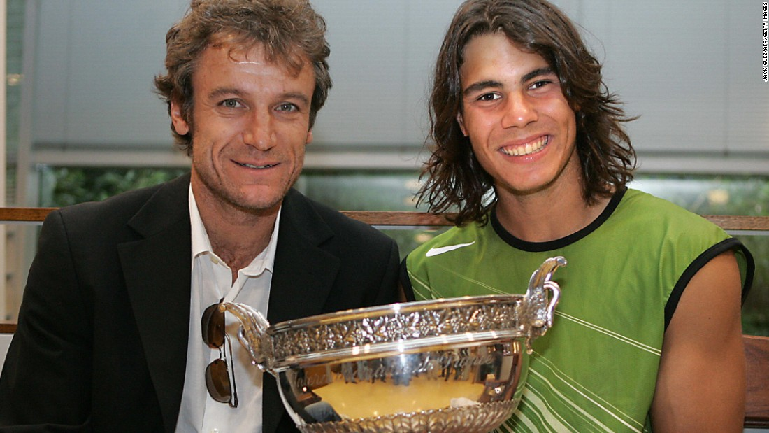 Nadal won the French Open title on his first attempt in 2005, making him only the second male player to do so after Sweden's Mats Wilander (left) in 1982.