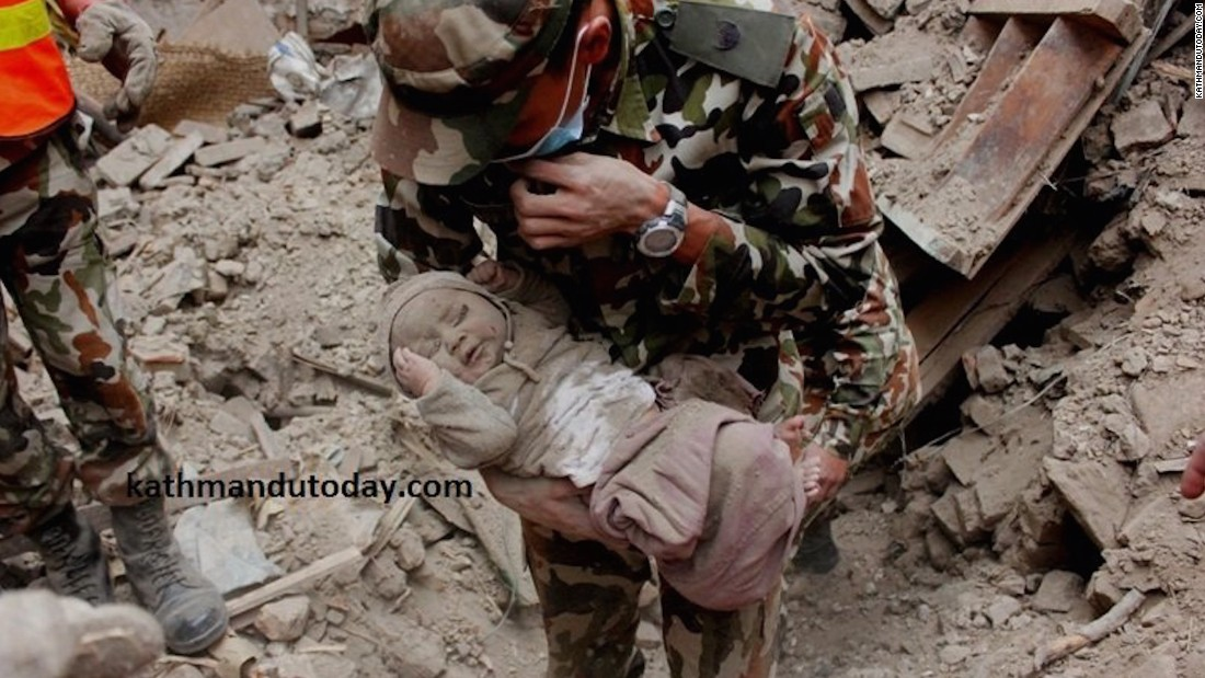 The newspaper adds the Nepalese Army had initially failed to rescue the baby and left the site thinking the baby had not survived. Hours later when the baby's cries were heard the army came back and rescued him.