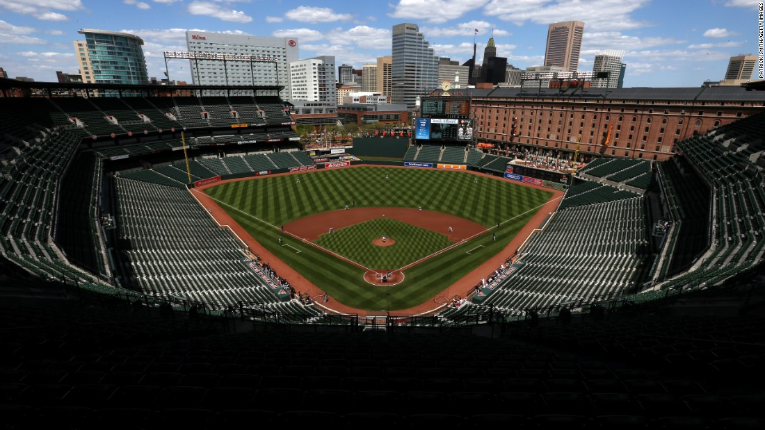 "The Baltimore Orioles take on the Chicago White Sox in the first inning at an empty Oriole Park at Camden Yards on Wednesday, April 29. The <a href=""http://www.cnn.com/2015/04/29/us/baltimore-surreal-scenes/index.html"">baseball game was played in a stadium closed</a> to the public after unrest in Baltimore following the death of Freddie Gray, a 25-year-old man who died after suffering a severe spinal injury in police custody."