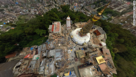 "Rescue workers dig through the quake rubble on the outskirts of Kathmandu in this aerial 360 degree view of the Swayambhunath temple -- sometimes known as the ""Monkey Temple."""