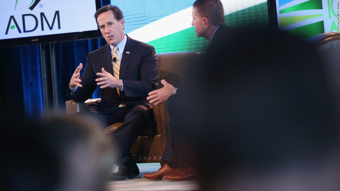 Santorum fields questions at the Iowa Ag Summit on March 7 in Des Moines, Iowa.