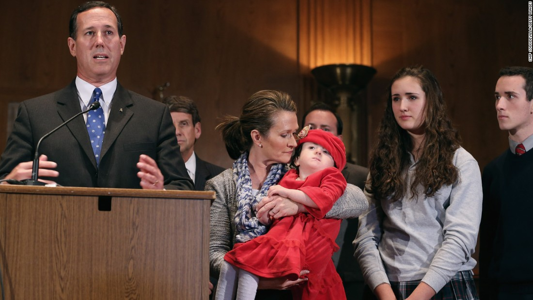 Santorum voices his opposition to the U.N. Convention on the Rights of Persons with Disabilities during a news conference with his wife, Karen Santorum, and three of their children on Capitol Hill on November 26, 2012. His daughter Isabella, being held by his wife, was born with a serious genetic disorder.